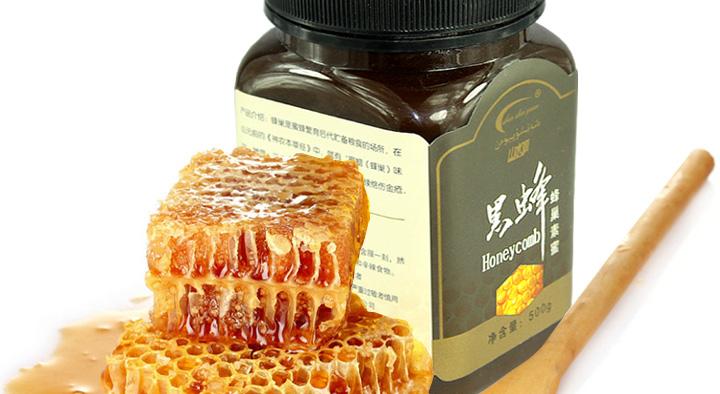 天山新疆伊犁黑蜂蜂巢素蜜500g*3瓶图片
